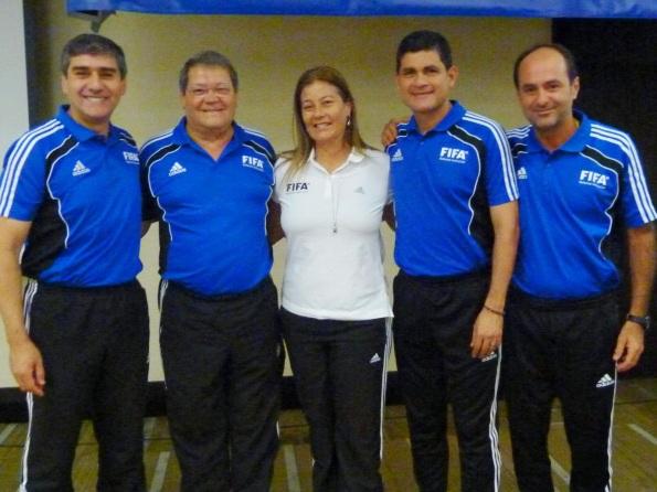 Carlos Chandia (Chile), Dr. Carlos Alarcón (Conmebol), Silvia Regina (Brasil), Oscar Ruiz (Colômbia) e Carlos Eugênio Simon (Brasil).